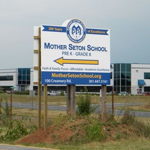 Custom Shape MDO Sign for Mother Seton School