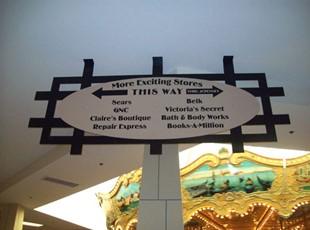 Hanging PVC signs at Lakeshore Mall
