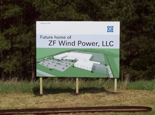 ZF Wind Power plant sign