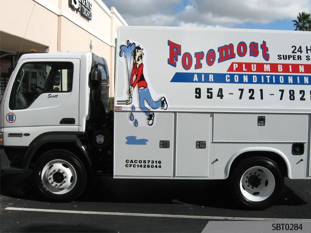 plumber vehicle graphics lettering